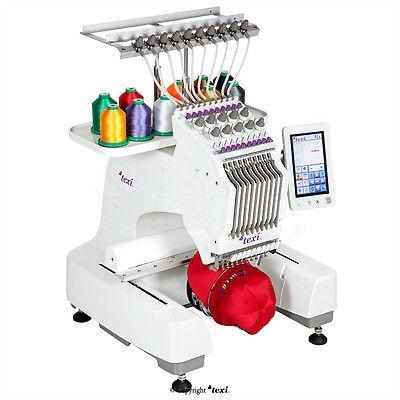 TEXI IRIS 10 - 1 Kopf, 10 Nadeln Stickmaschine - mit Kappen- & Stickrahmen